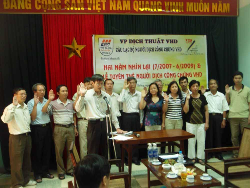 Lễ tuyên thệ người dịch công chứng VHD